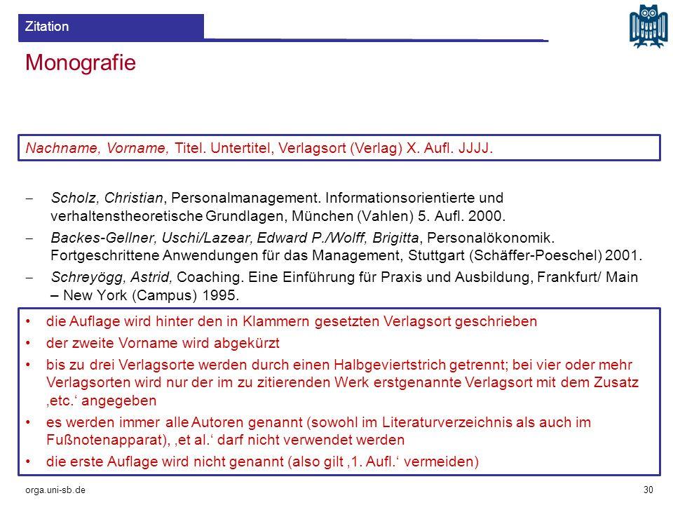 Zitation Monografie. Nachname, Vorname, Titel. Untertitel, Verlagsort (Verlag) X. Aufl. JJJJ.