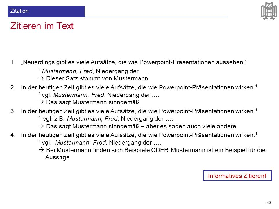 Informatives Zitieren!