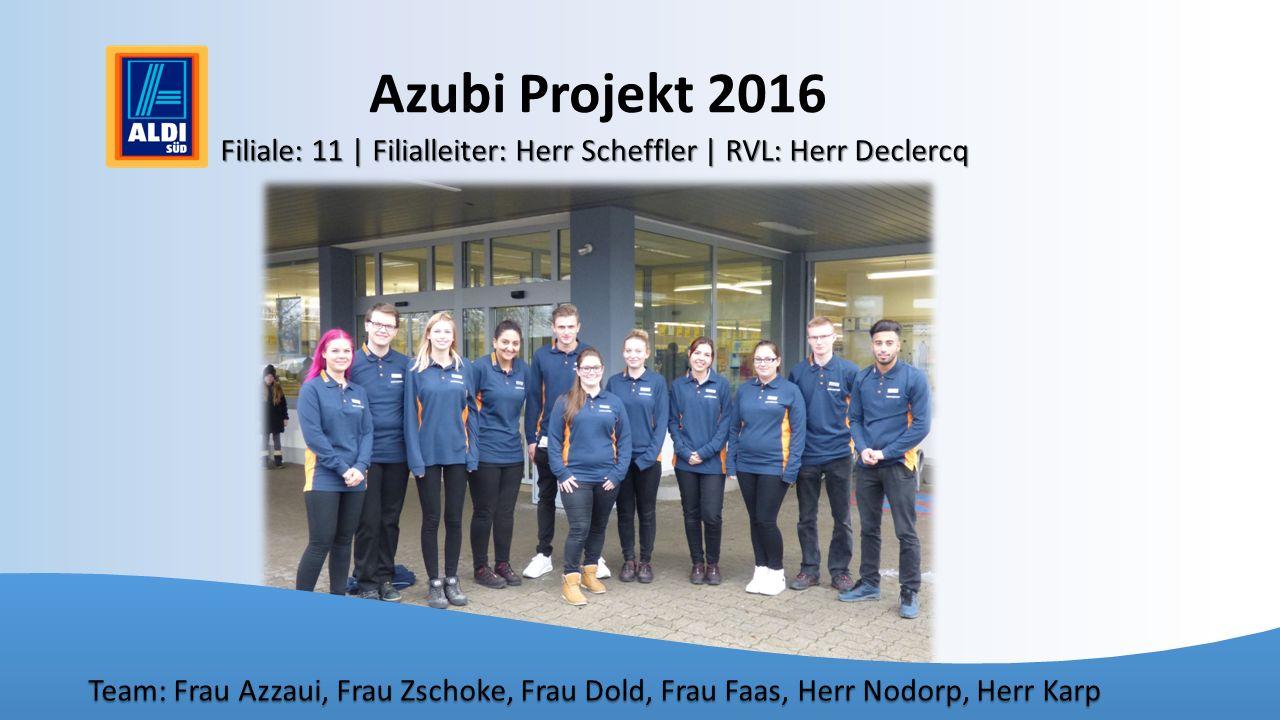 Azubi Projekt 2016 Filiale: 11 | Filialleiter: Herr Scheffler | RVL: Herr Declercq.