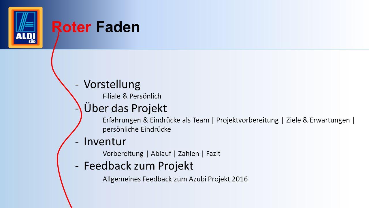 Roter Faden Vorstellung Über das Projekt Inventur Feedback zum Projekt