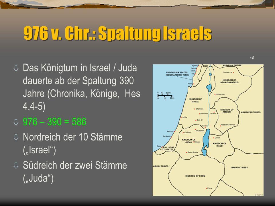 976 v. Chr.: Spaltung Israels