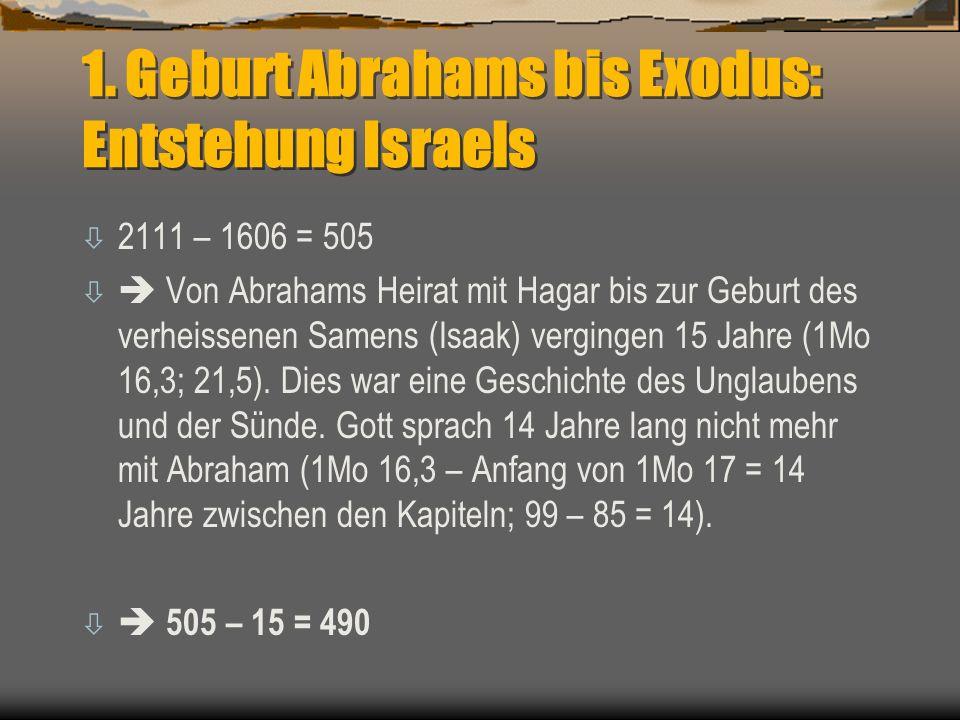 1. Geburt Abrahams bis Exodus: Entstehung Israels