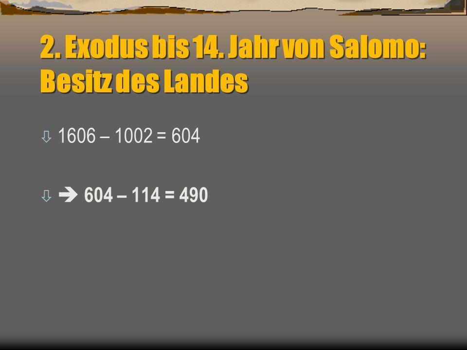 2. Exodus bis 14. Jahr von Salomo: Besitz des Landes