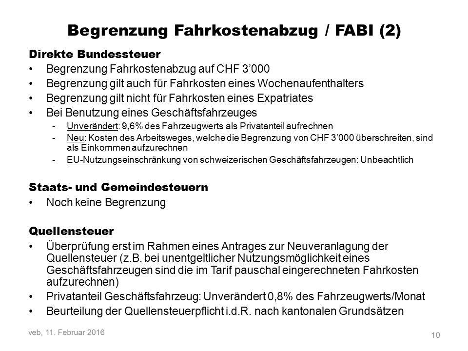 Begrenzung Fahrkostenabzug / FABI (2)