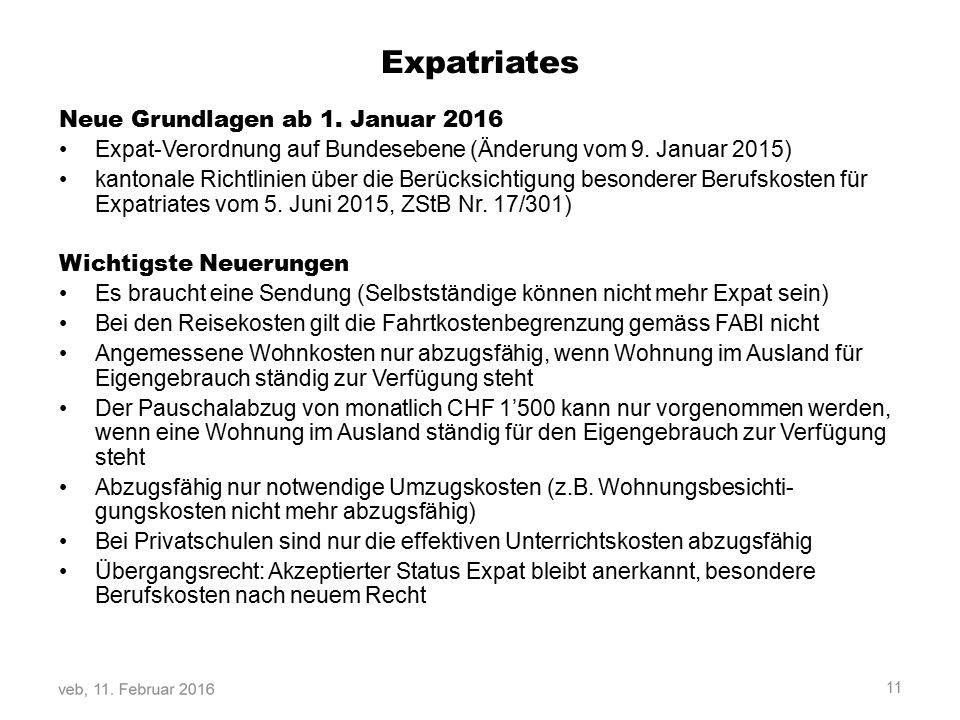 Expatriates Neue Grundlagen ab 1. Januar 2016