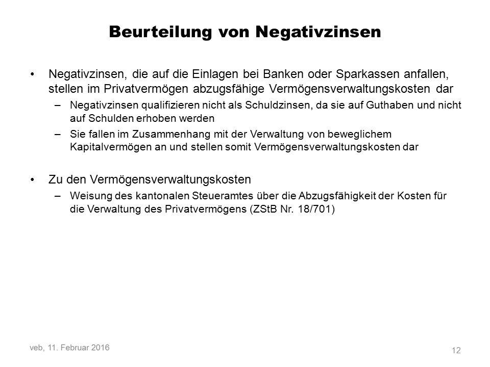Beurteilung von Negativzinsen