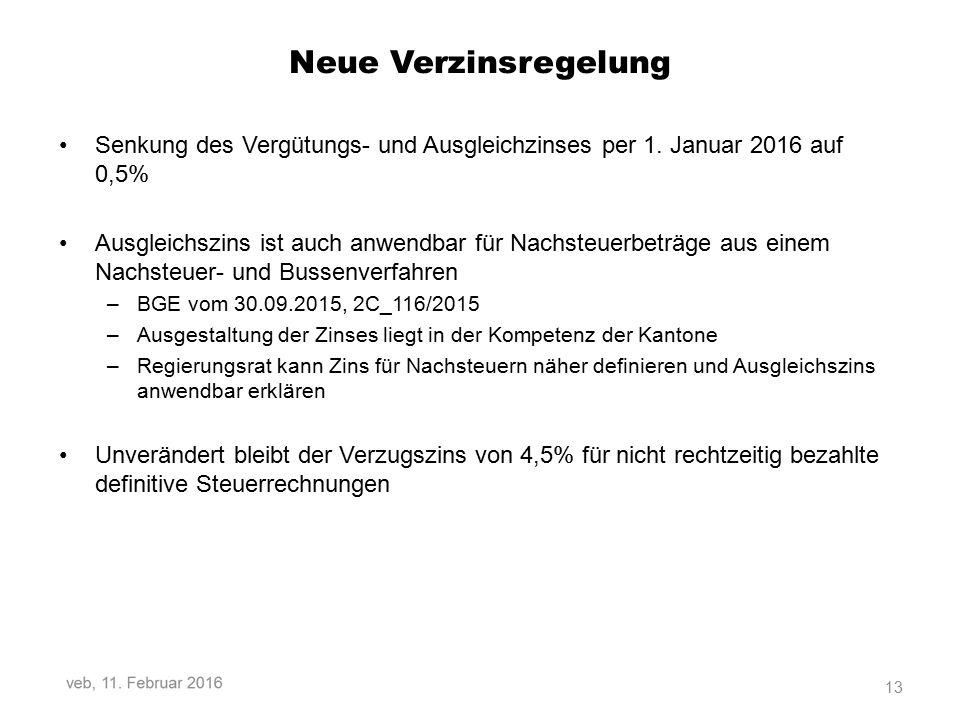 Neue Verzinsregelung Senkung des Vergütungs- und Ausgleichzinses per 1. Januar 2016 auf 0,5%