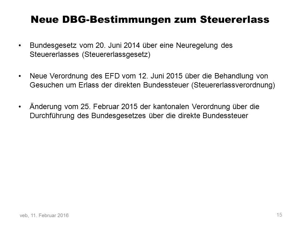 Neue DBG-Bestimmungen zum Steuererlass