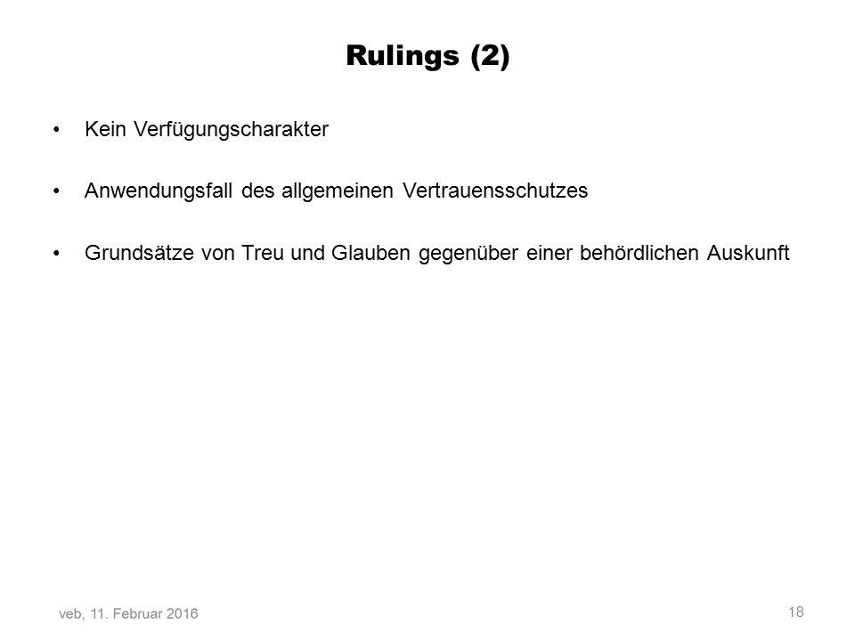 Rulings (2) Kein Verfügungscharakter