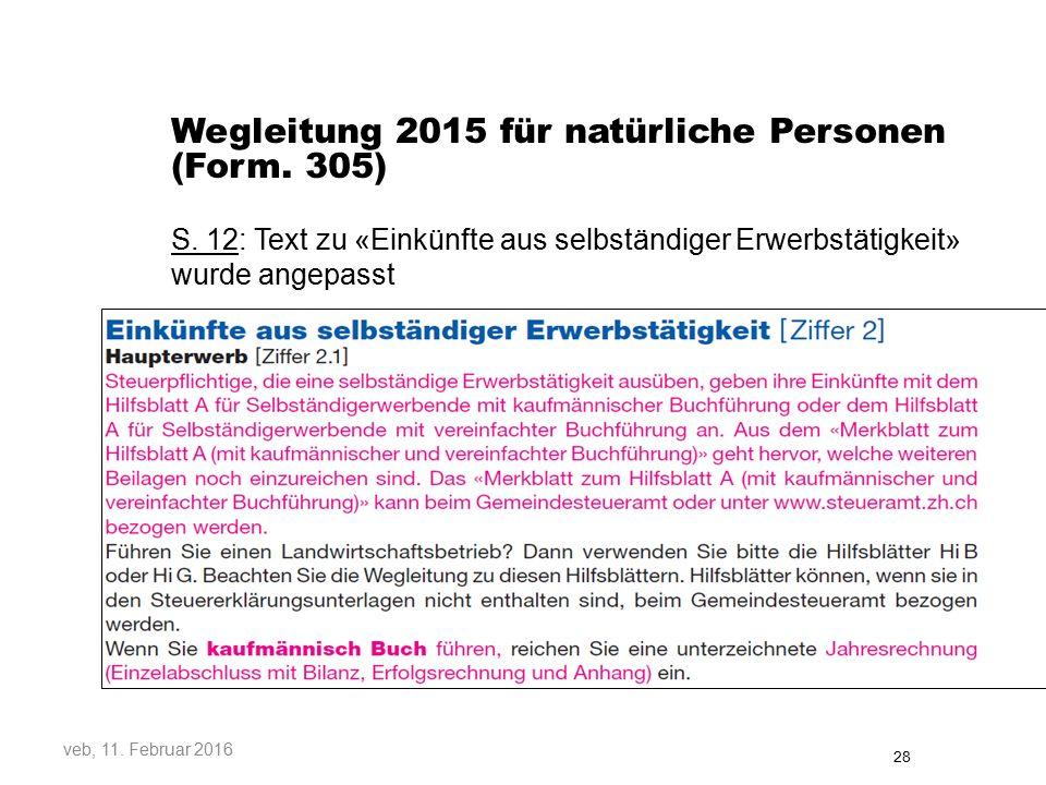 Wegleitung 2015 für natürliche Personen (Form. 305)