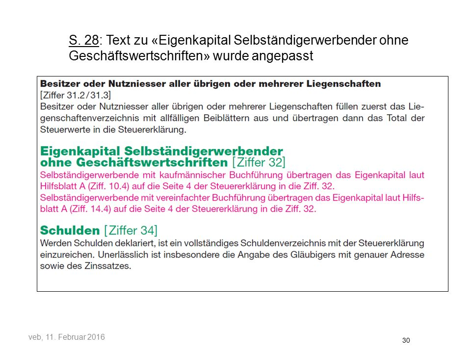 S. 28: Text zu «Eigenkapital Selbständigerwerbender ohne Geschäftswertschriften» wurde angepasst