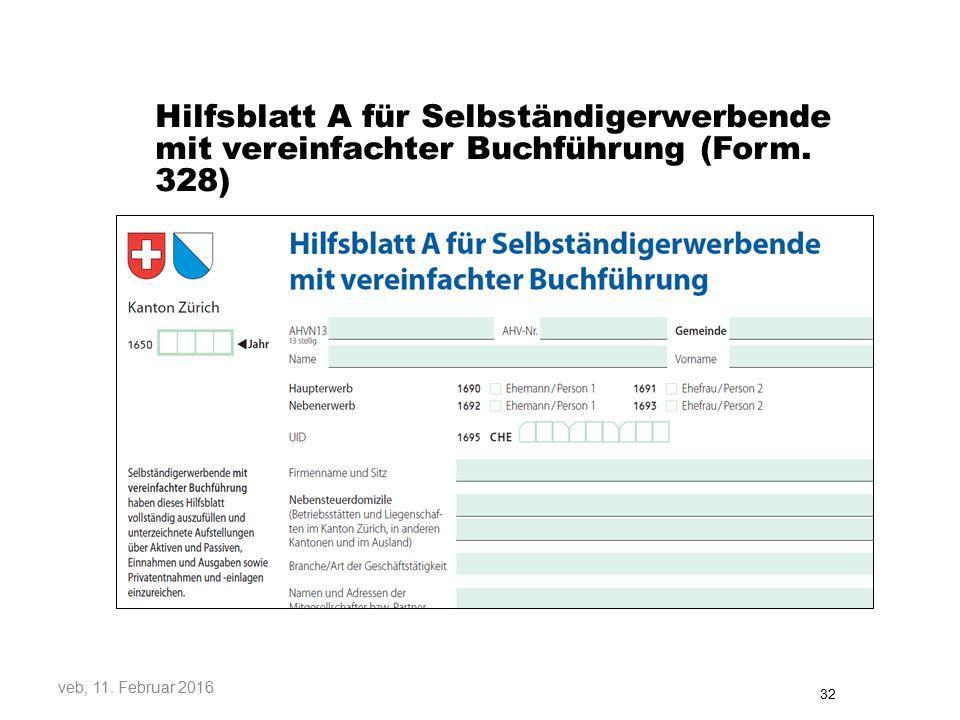 Hilfsblatt A für Selbständigerwerbende mit vereinfachter Buchführung (Form. 328)