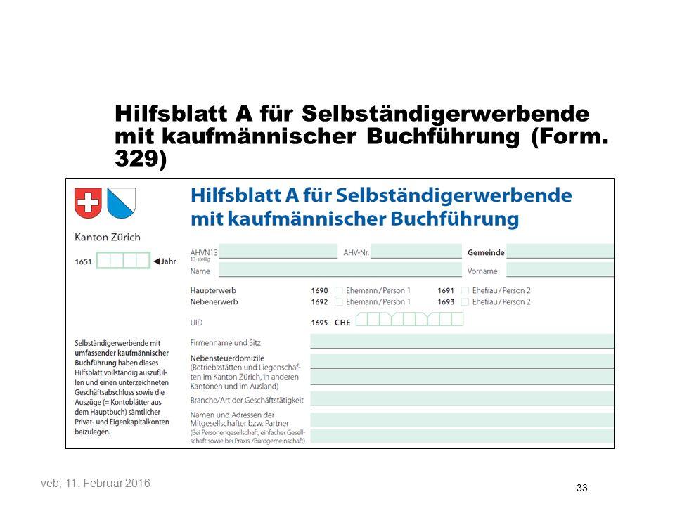 Hilfsblatt A für Selbständigerwerbende mit kaufmännischer Buchführung (Form. 329)