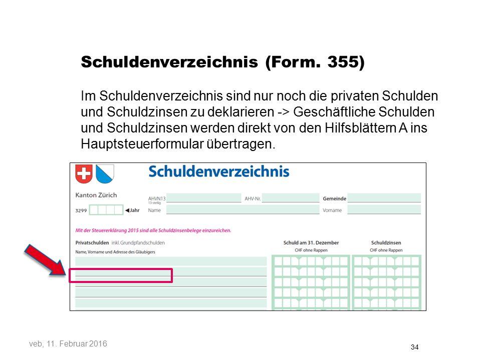Schuldenverzeichnis (Form. 355)