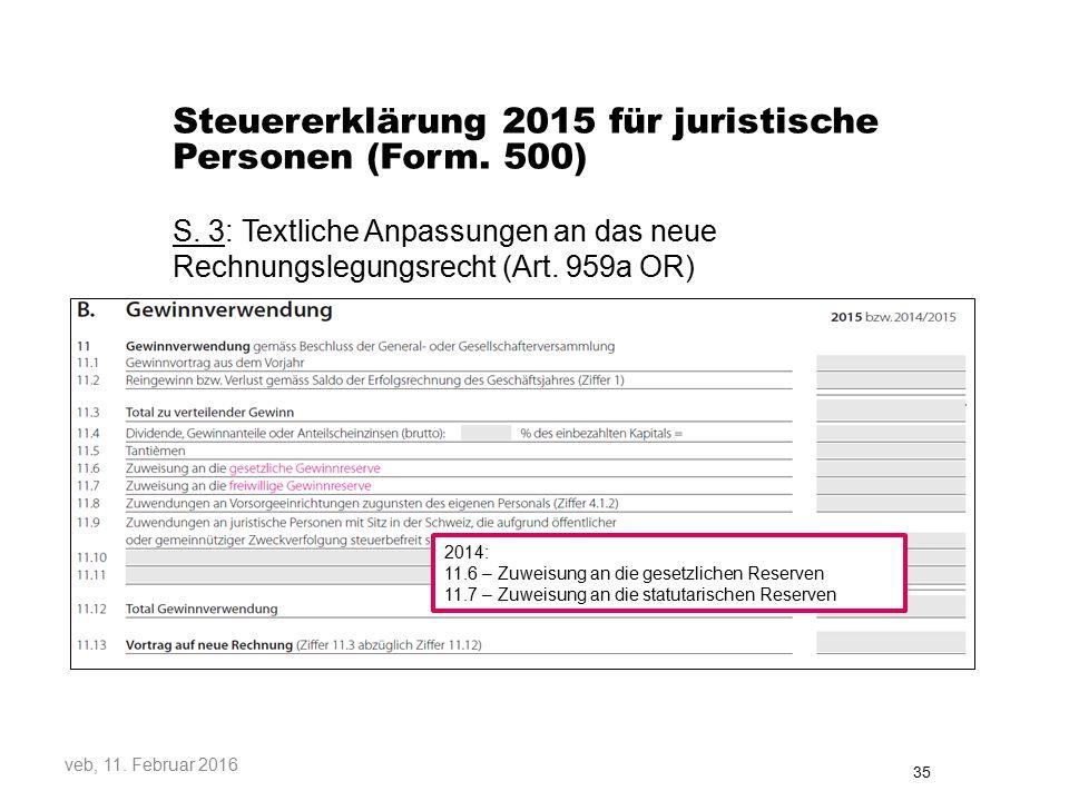 Steuererklärung 2015 für juristische Personen (Form. 500)
