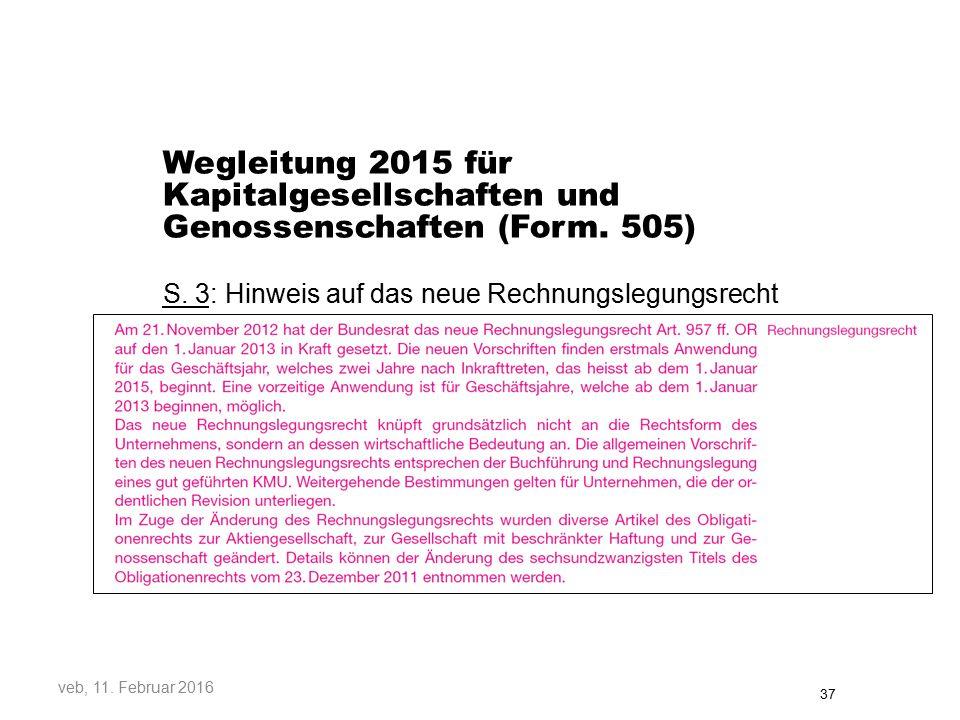 Wegleitung 2015 für Kapitalgesellschaften und Genossenschaften (Form