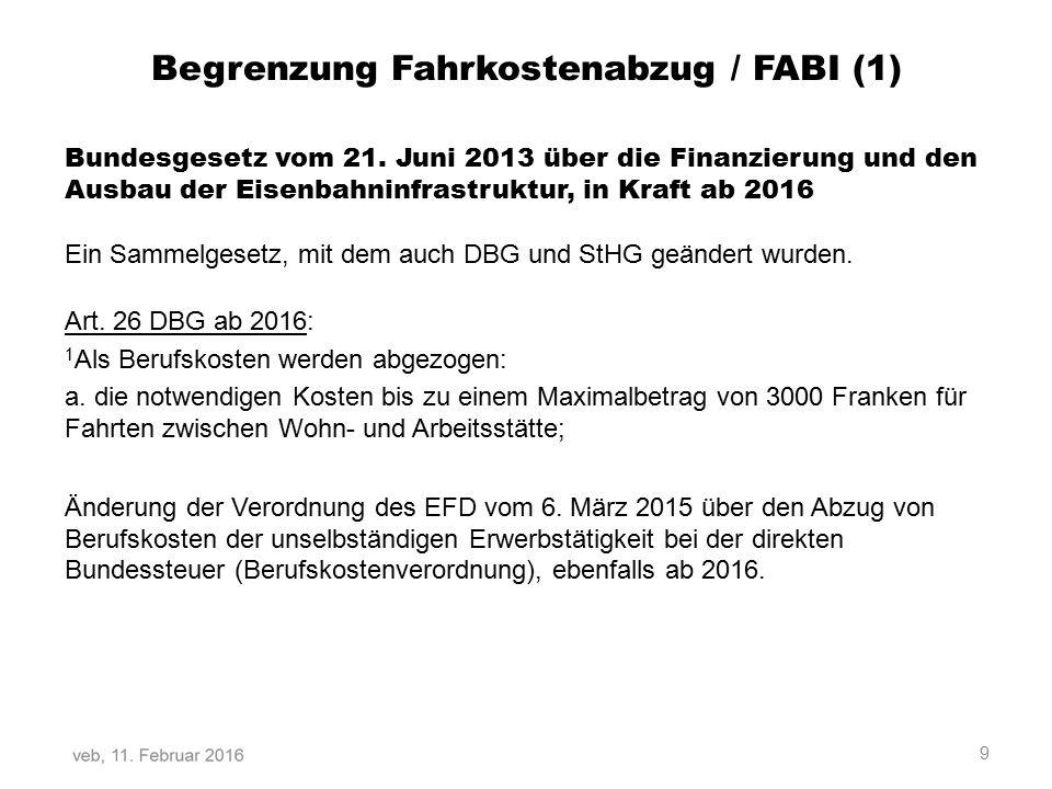 Begrenzung Fahrkostenabzug / FABI (1)