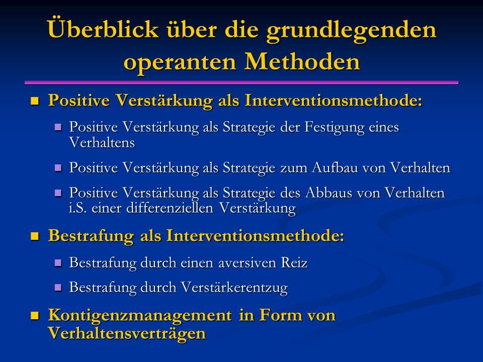 Überblick über die grundlegenden operanten Methoden