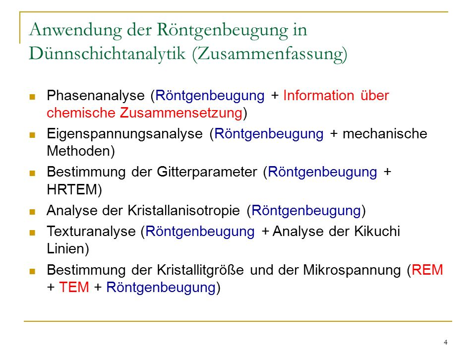 Anwendung der Röntgenbeugung in Dünnschichtanalytik (Zusammenfassung)
