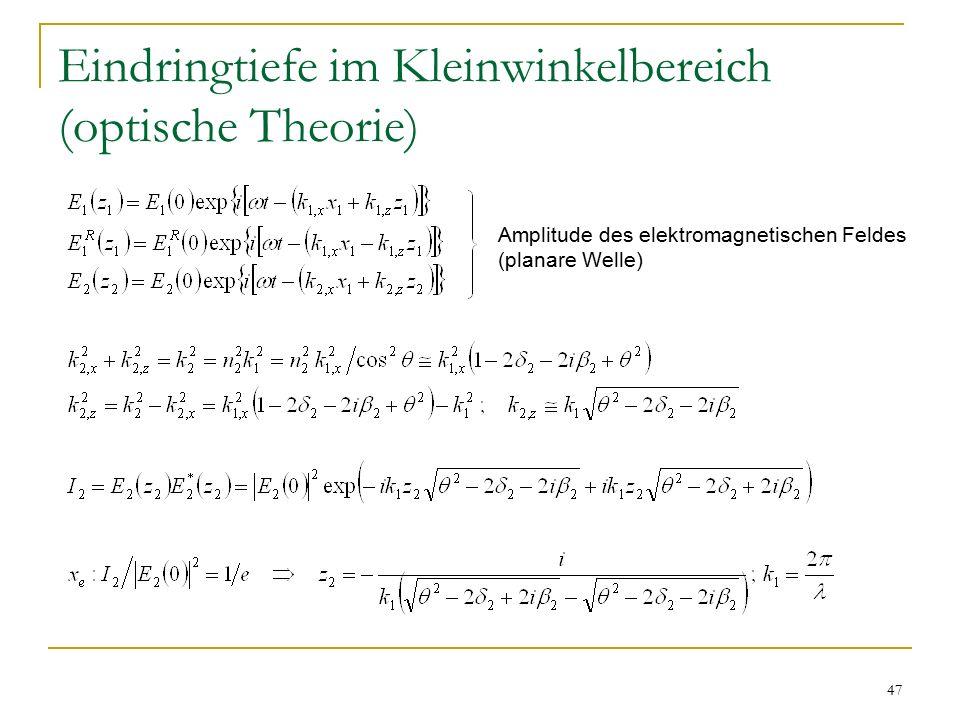 Eindringtiefe im Kleinwinkelbereich (optische Theorie)