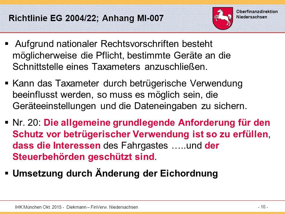 Richtlinie EG 2004/22; Anhang MI-007