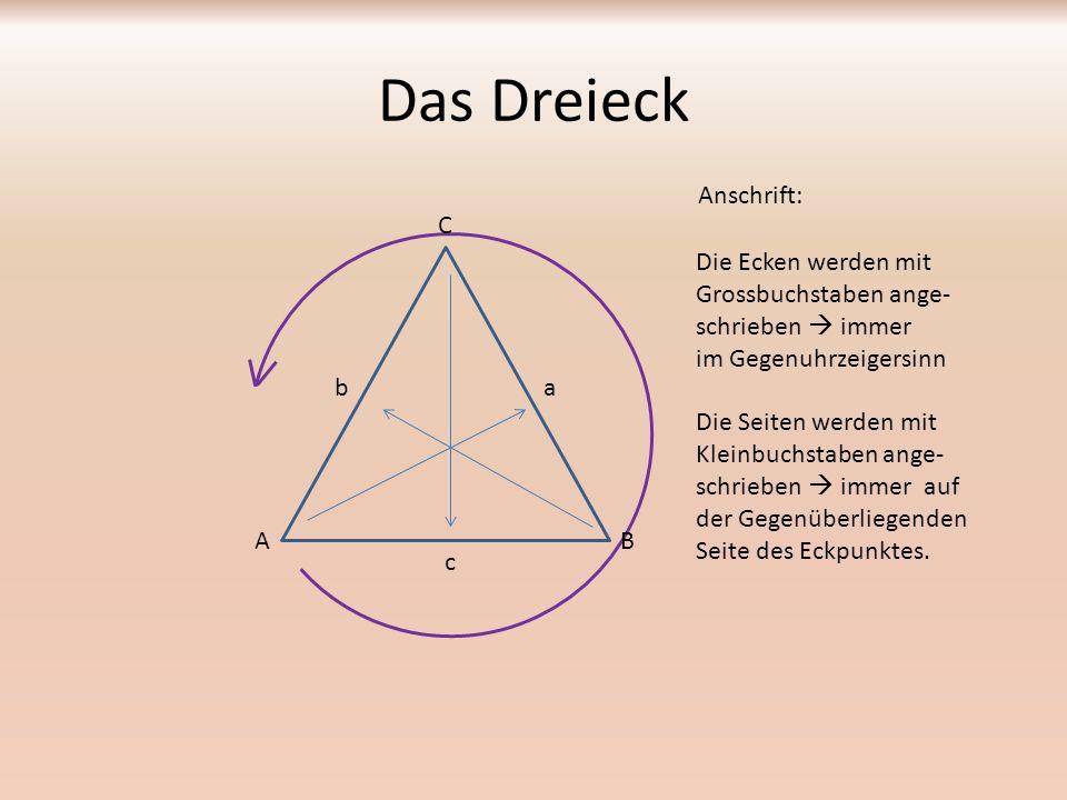 Das Dreieck Anschrift: C Die Ecken werden mit Grossbuchstaben ange-