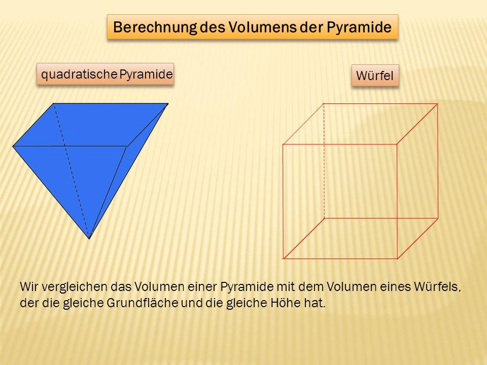Berechnung des Volumens der Pyramide