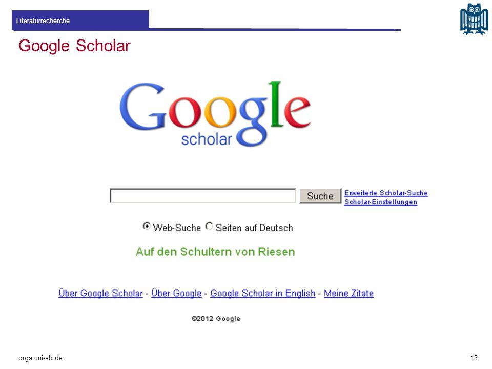 Literaturrecherche Google Scholar orga.uni-sb.de