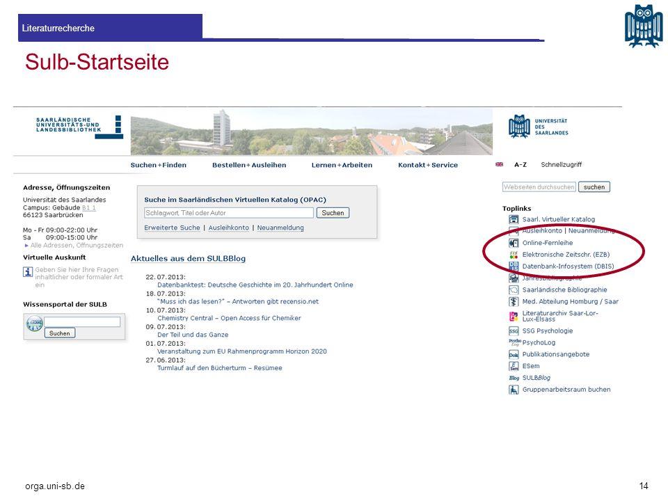 Literaturrecherche Sulb-Startseite orga.uni-sb.de