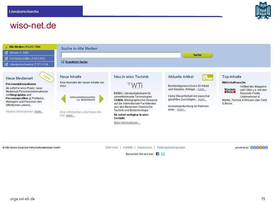 Literaturrecherche wiso-net.de orga.uni-sb.de