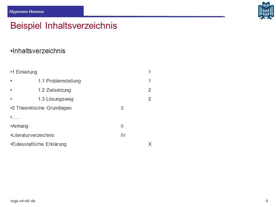 Beispiel Inhaltsverzeichnis