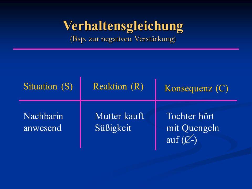 Verhaltensgleichung (Bsp. zur negativen Verstärkung)