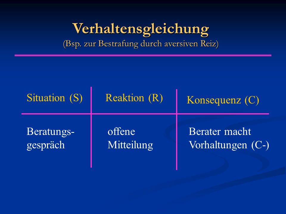 Verhaltensgleichung (Bsp. zur Bestrafung durch aversiven Reiz)