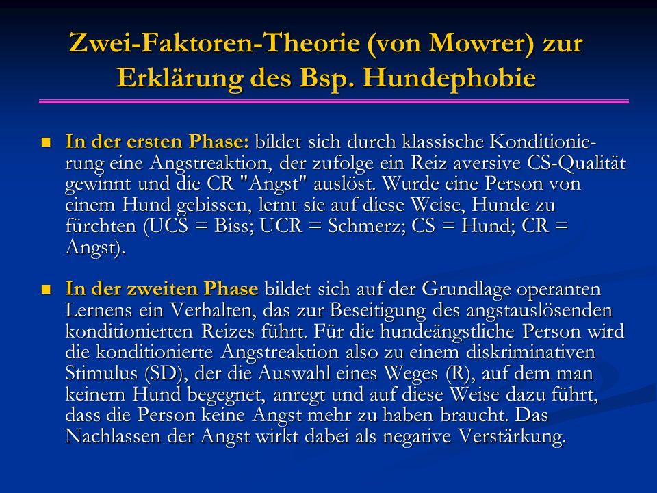 Zwei-Faktoren-Theorie (von Mowrer) zur Erklärung des Bsp. Hundephobie