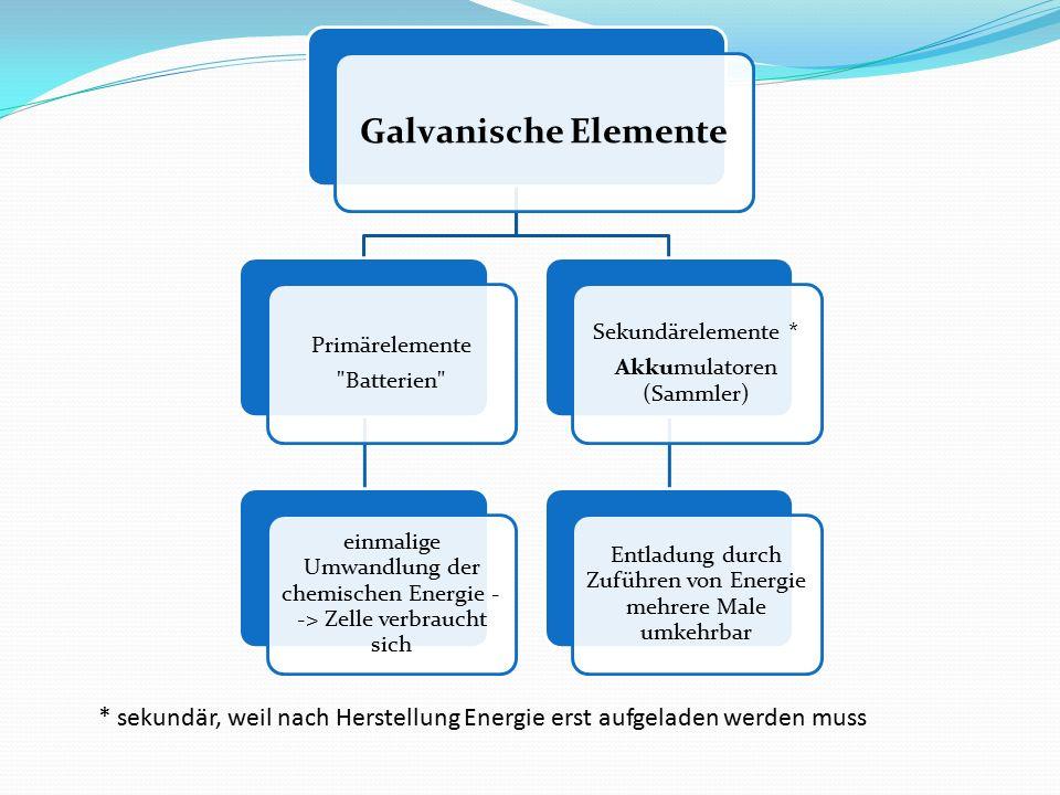 Galvanische Elemente Primärelemente. Batterien einmalige Umwandlung der chemischen Energie --> Zelle verbraucht sich.