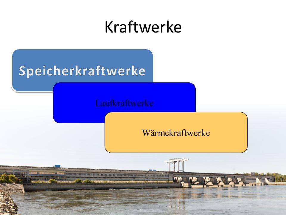 Kraftwerke Speicherkraftwerke Laufkraftwerke Wärmekraftwerke