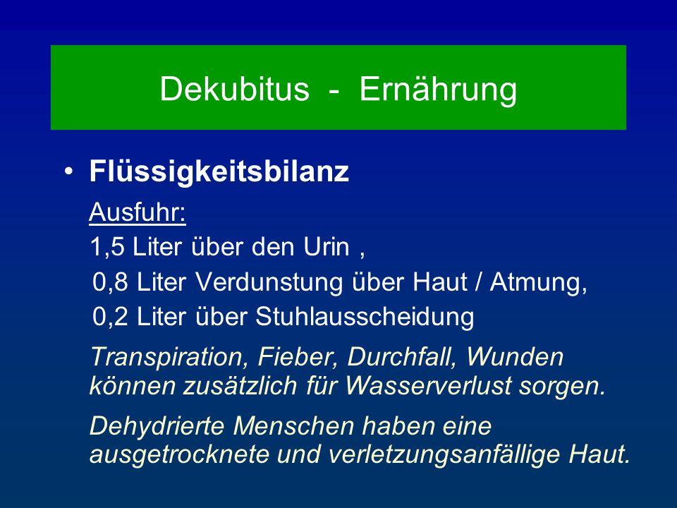 Dekubitus - Ernährung Flüssigkeitsbilanz 1,5 Liter über den Urin ,