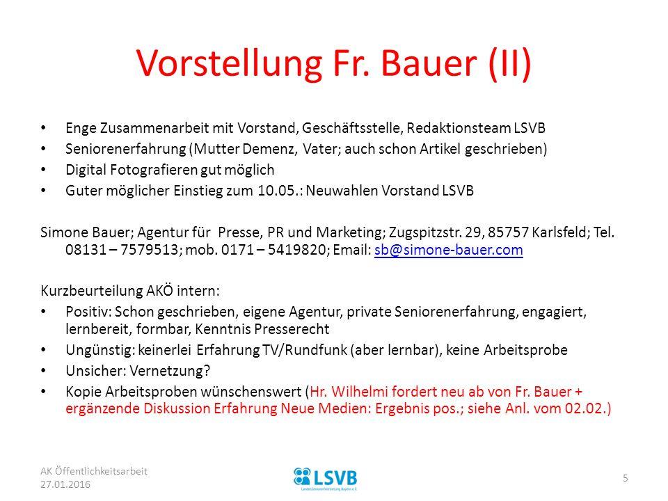 Vorstellung Fr. Bauer (II)