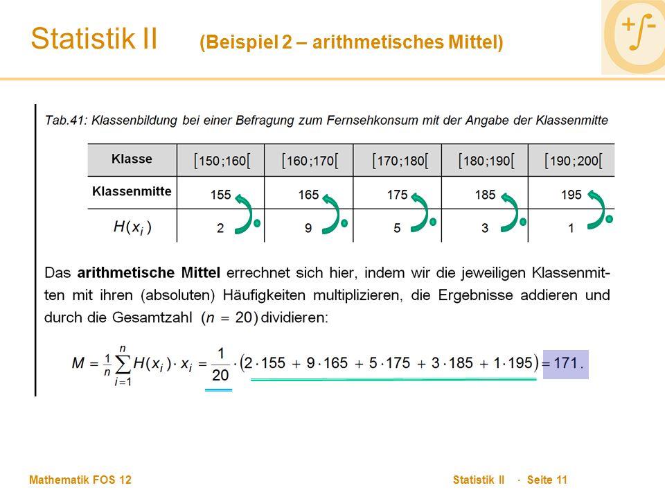 Statistik II (Beispiel 2 – arithmetisches Mittel)
