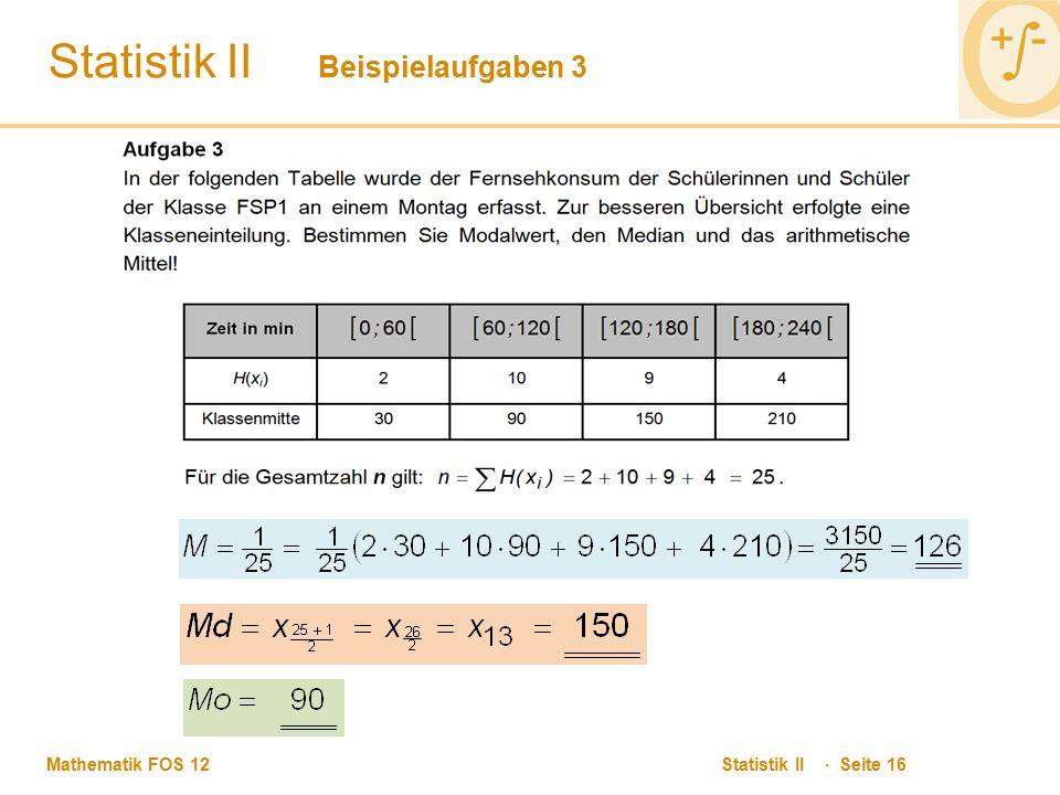 Statistik II Beispielaufgaben 3
