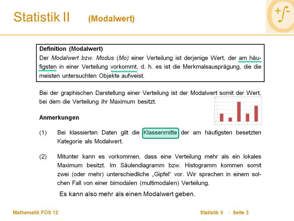 Statistik II (Modalwert)