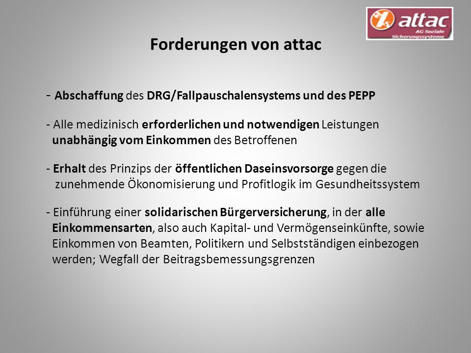 Forderungen von attac - Abschaffung des DRG/Fallpauschalensystems und des PEPP.