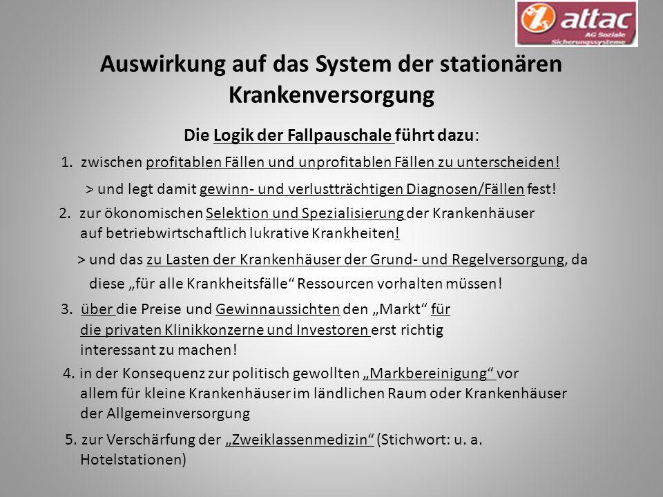 Auswirkung auf das System der stationären Krankenversorgung