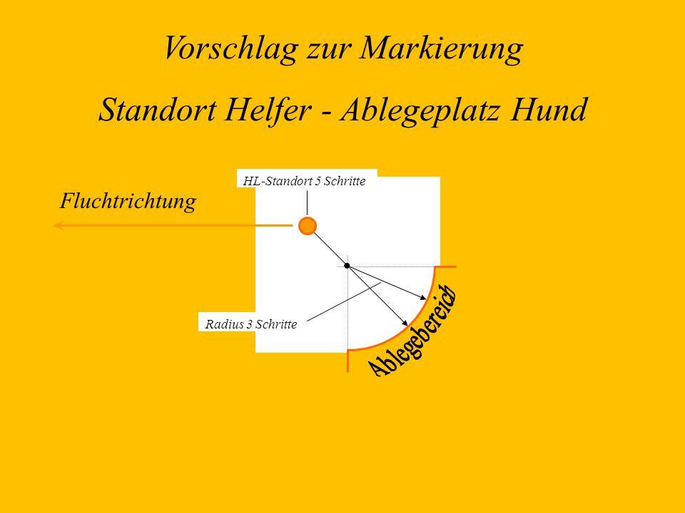 Vorschlag zur Markierung Standort Helfer - Ablegeplatz Hund