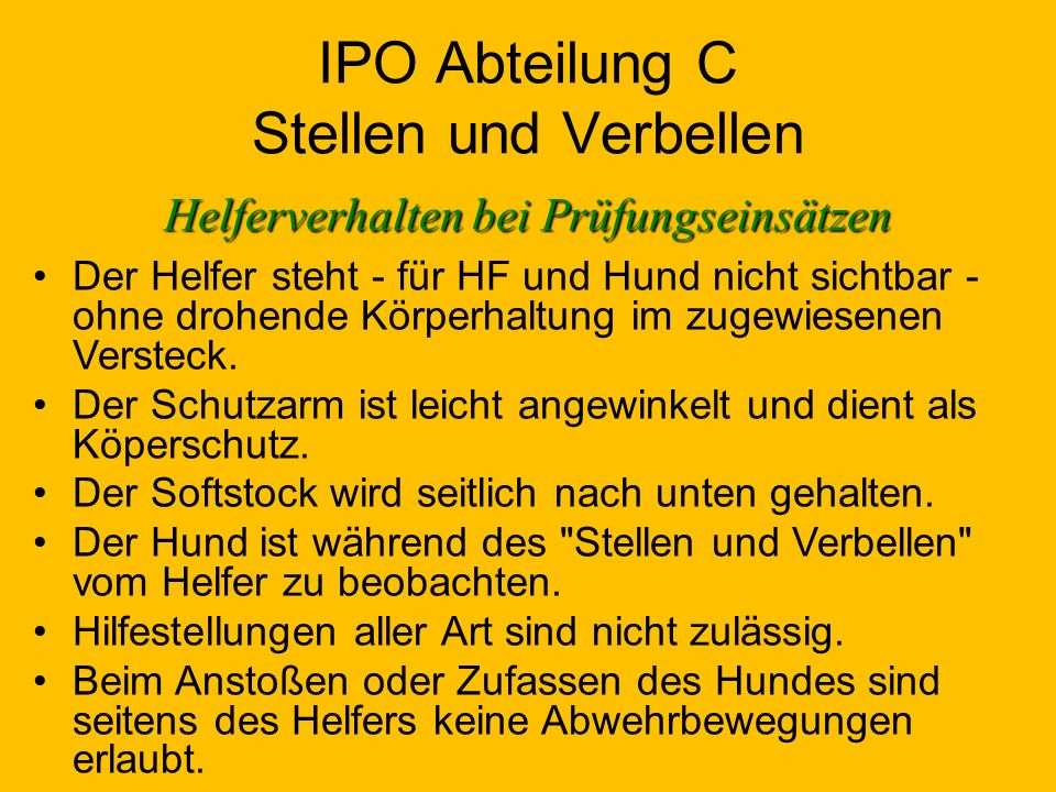IPO Abteilung C Stellen und Verbellen
