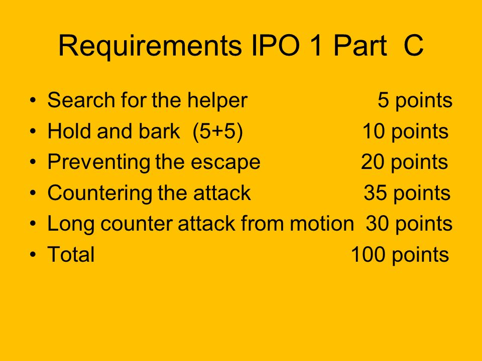 Requirements IPO 1 Part C