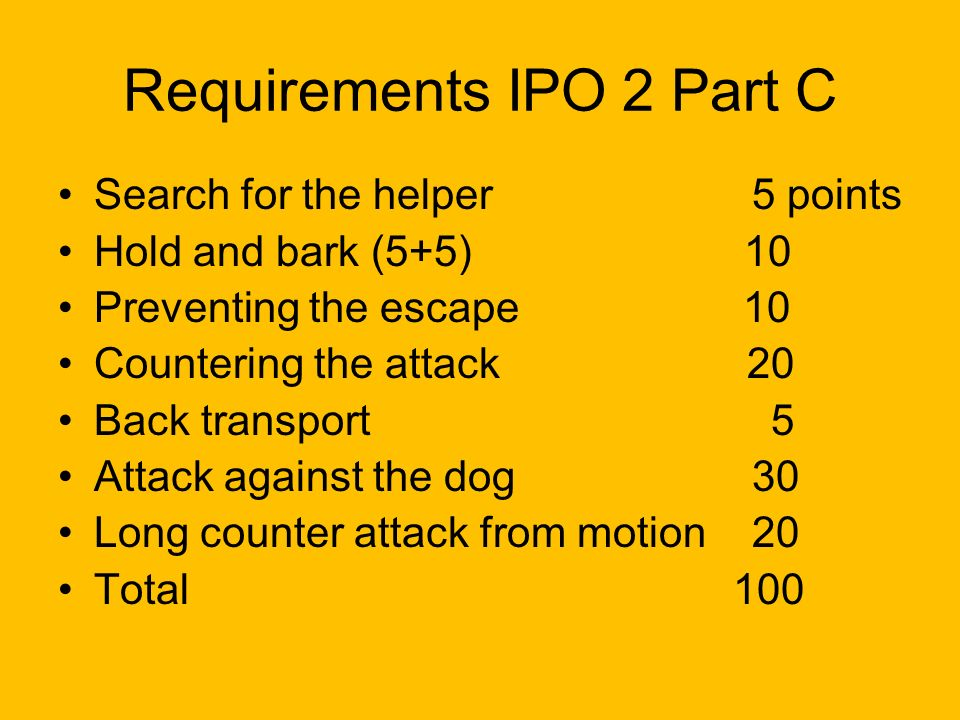 Requirements IPO 2 Part C