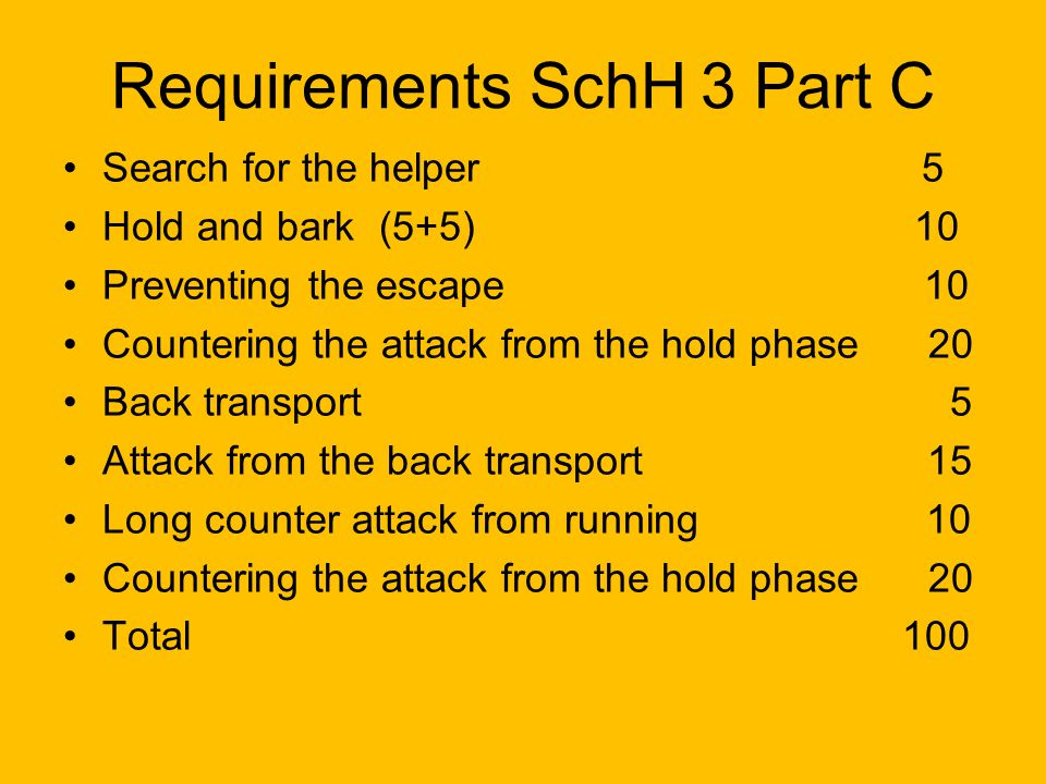 Requirements SchH 3 Part C