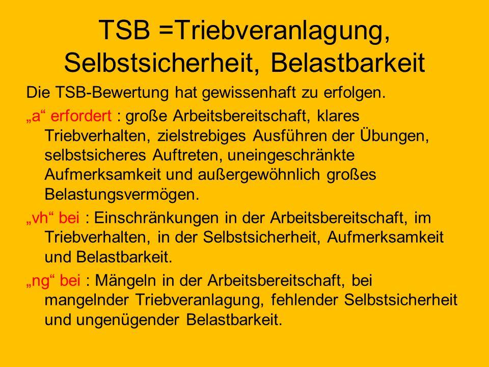 TSB =Triebveranlagung, Selbstsicherheit, Belastbarkeit