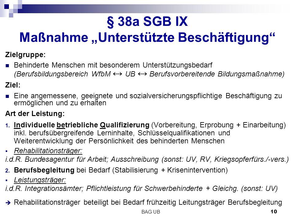 "§ 38a SGB IX Maßnahme ""Unterstützte Beschäftigung"